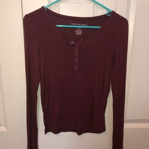 american eagle quarter button up long sleeve